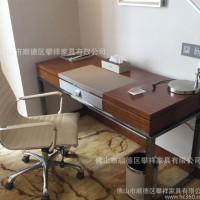 定制简约风格酒店写字桌书房书桌客房金属办公桌台脚木制办公桌子