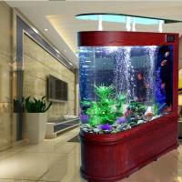 吧台玻璃鱼缸隔断屏风大中型多功能1.2米1.5米定制水族箱